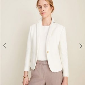 Ann Taylor white textured blazer gold buttons
